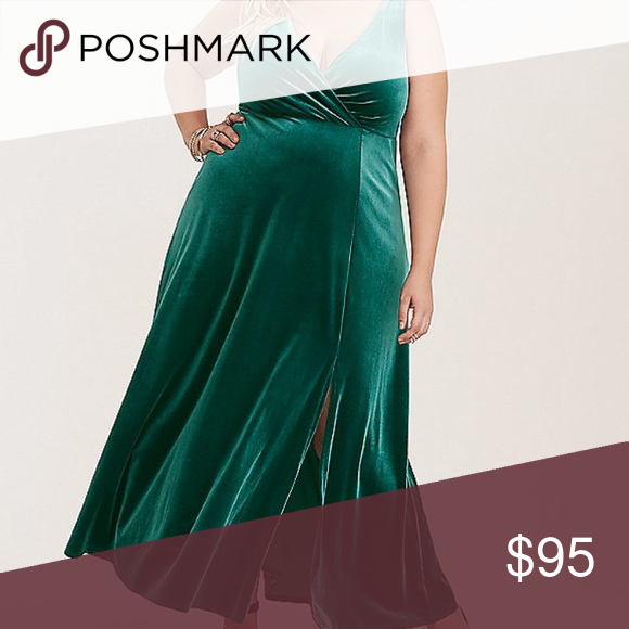 ad0543a3828 Evening gown Emerald green V-neck gown with side slits. Worn once for prom torrid  Dresses Wedding