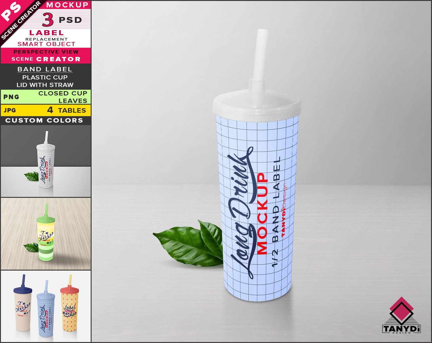 Long Drink Plastic Cup Photoshop Label Mockup Png White Long Closed Cup Straw And Leaves Smart Object Mock Up Cup Scene Creator Scene Creator The Creator Label Cups