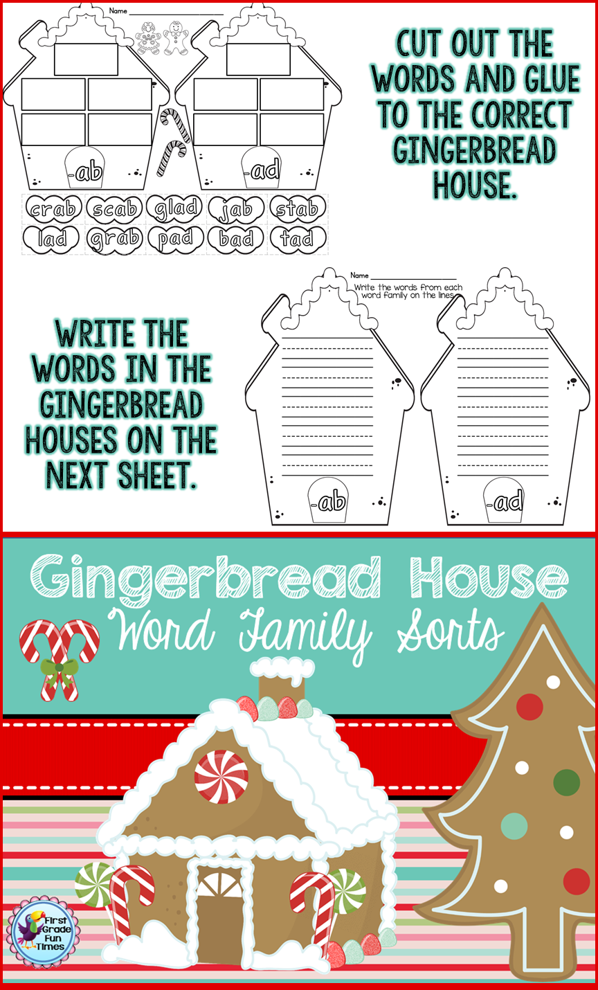 Gingerbread Word Families | Kindergarten christmas, English ...