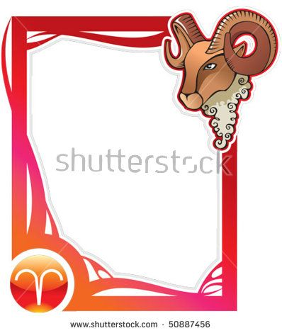 Aries, the first sign from the series of the zodiac frames in cartoon style, vector illustration
