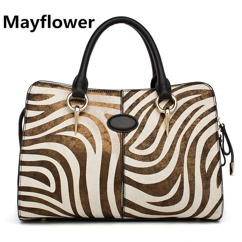 Newest 2014 luxury zebra print horsehair 100% genuine leather handbags fashion tote bag, Famous Designers Brand+Free Shipping $108.00