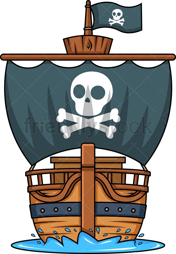 Front View Of A Pirate Ship With Images Cartoon Pirate Ship