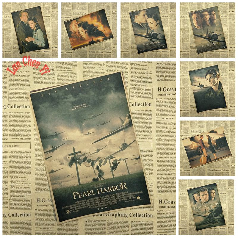 Vintage Nostalgic Pearl Harbor Classic Movie Kraft Paper Poster Cafe Creative Wallpaper Interior Decoration Free Wall Sticker Design Wall Sticker Pearl Harbor