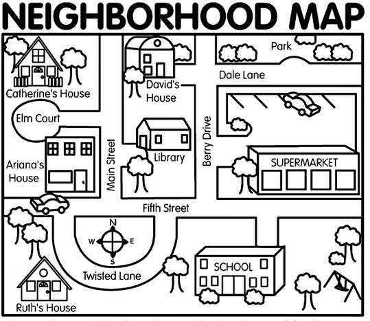 Neighborhood map for map dictation activity | ELD Unit