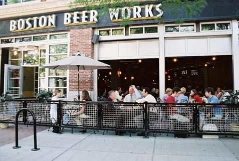 Boston Beer Works welded aluminum and glass overhead doors with custom finish open out onto sidewalk eating area & Boston Beer Works welded aluminum and glass overhead doors with ...