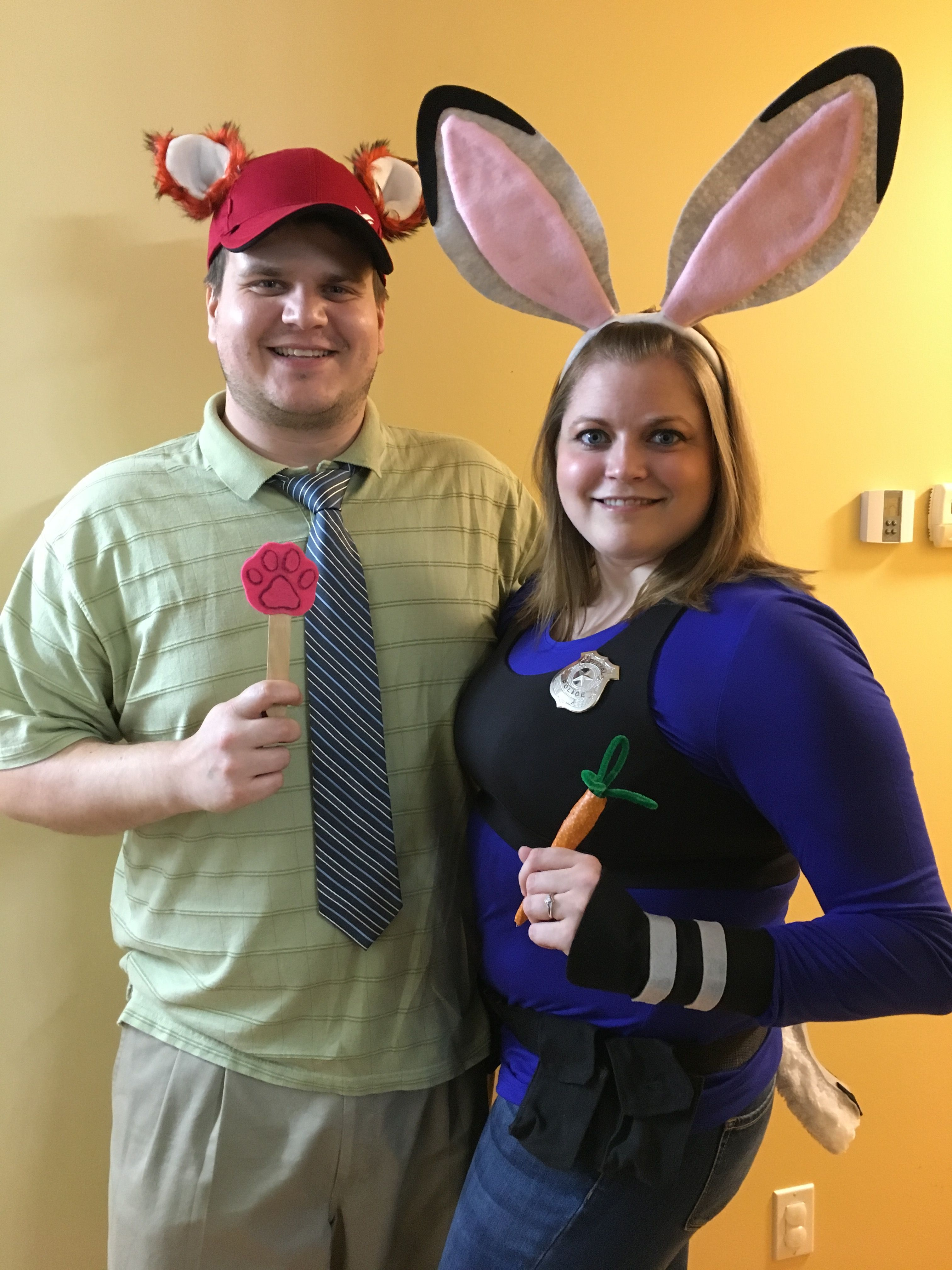 Nick Wilde and Officer Judy Hopps reporting for duty! Zootopia couples costume!