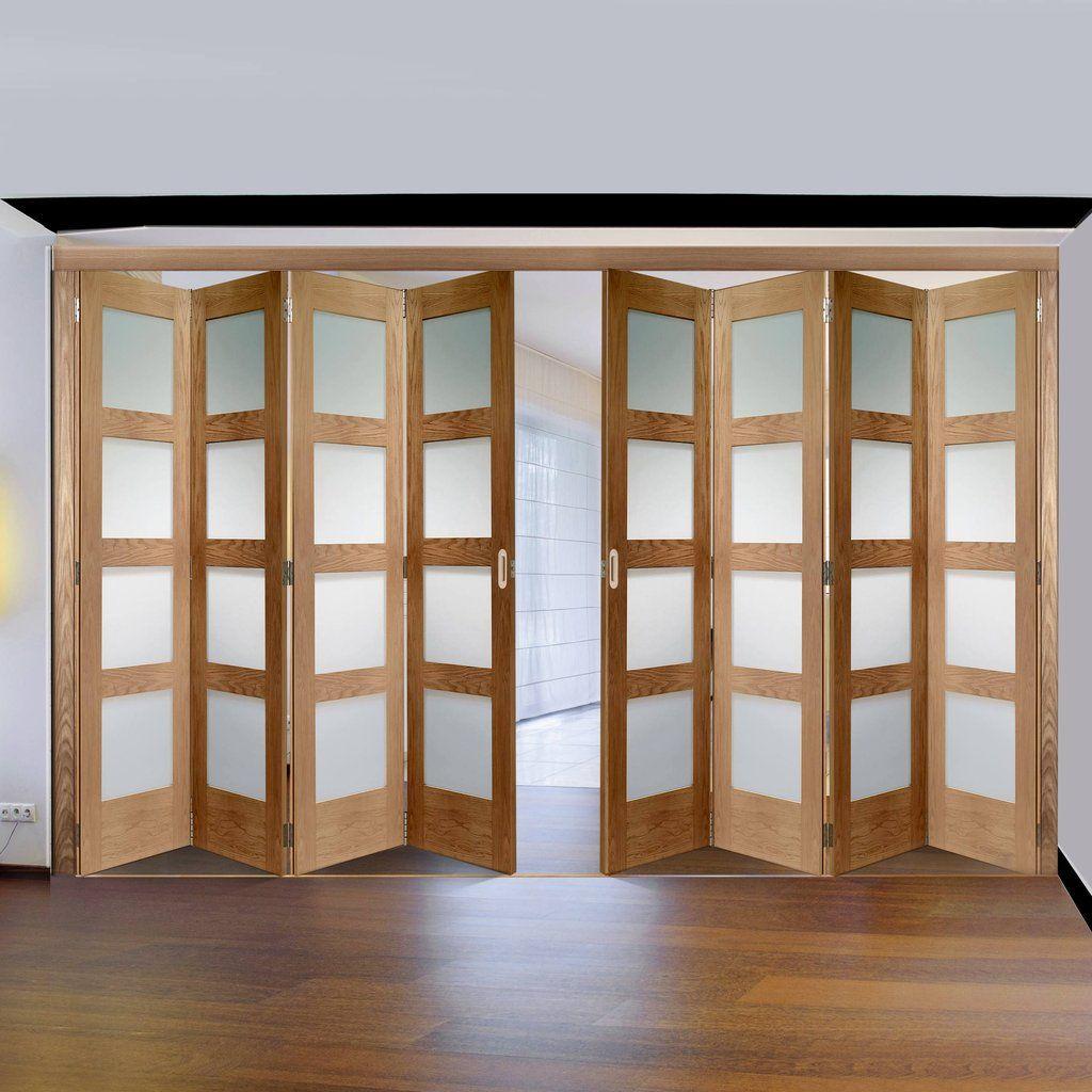 Freefold oak shaker pane style folding door set with obscure