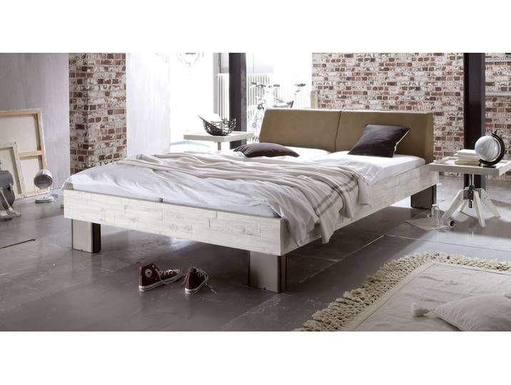 Designerbett mit Kunstleder-Kopfteil Salla – 200×200 cm – Akazie braun