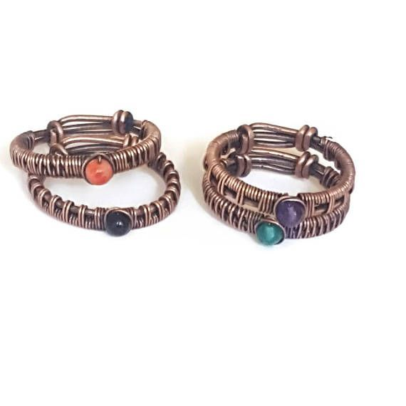 birthstone rings - copper wire ring - friendship rings - wire wrapped gemstone ring - woven copper ring - copper jewelry rings Gorgeous wire wrapped birthstone rings - the perfect birthday gift, mothers gift or for 7 year wedding anniversary which is the copper anniversary. These stackable rings are entirely handcrafted, woven