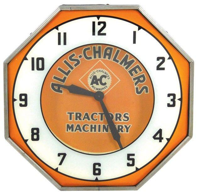 """New ALLIS CHALMERS Wheel Dial Tractors Clock MASSIVE 10/"""" Tractor Wall Clock"""