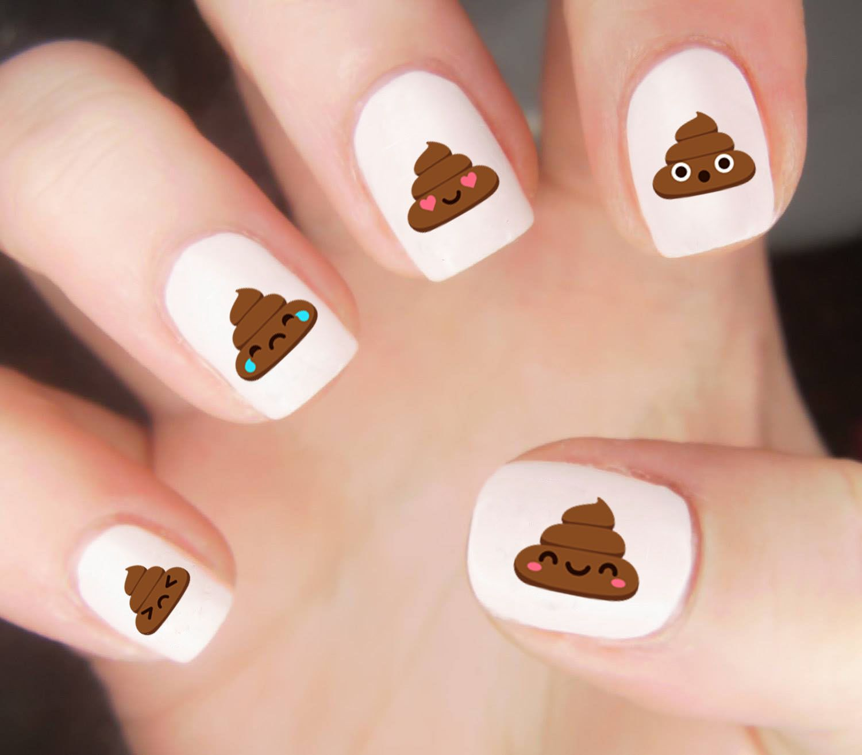 Poop Emoji Had Me Like Get Our Poop Nail Decal Set Via Etsy Today Nail Looks Pinterest