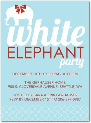 chic design with an elegant touch for a great white elephant gift, party invitations