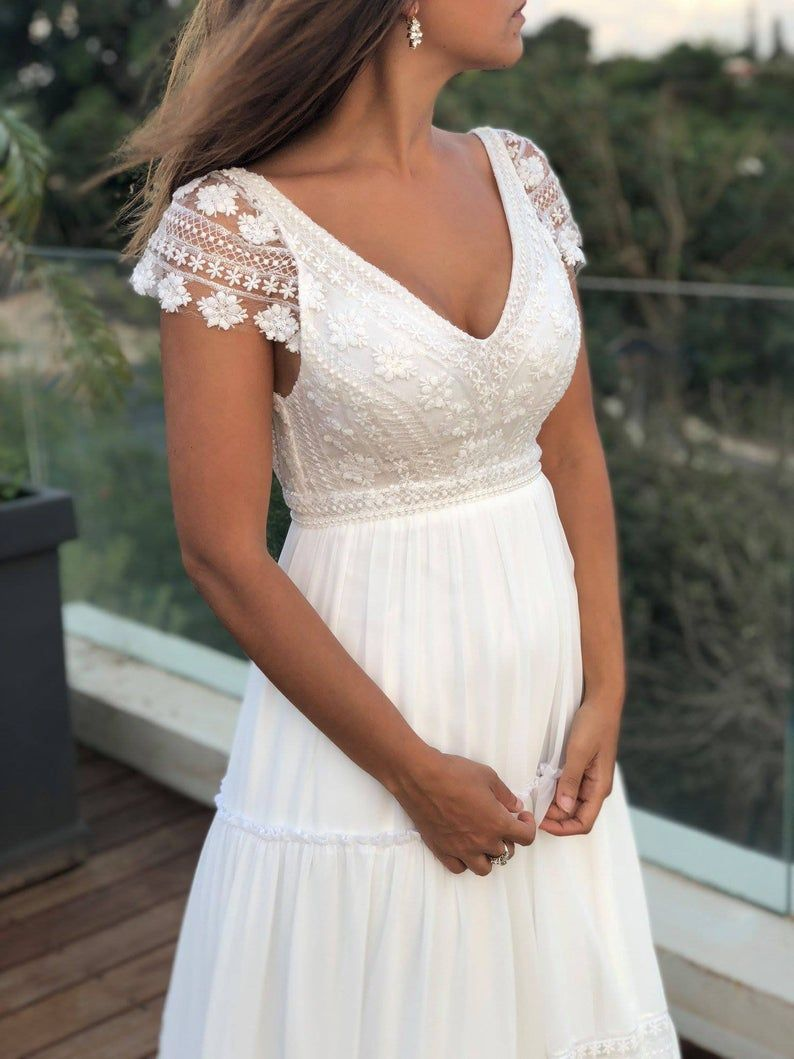 Short Sleeve wedding Dress, boho vintage wedding gown