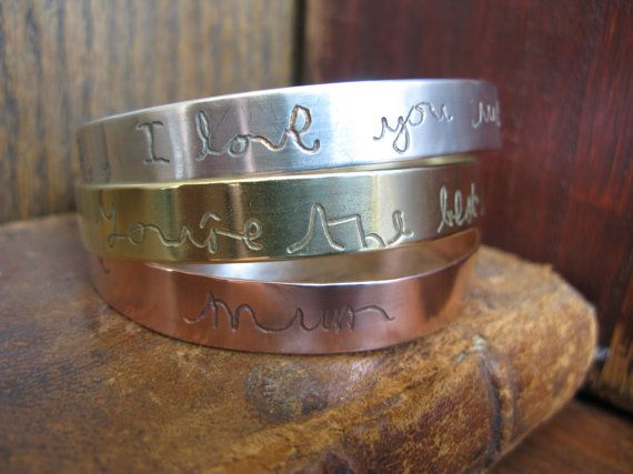 Solid Copper Bangle with YOUR HANDWRITING, personalised, children, grandchildren, quotes, lyrics, verses etc #grandchildrenquotes