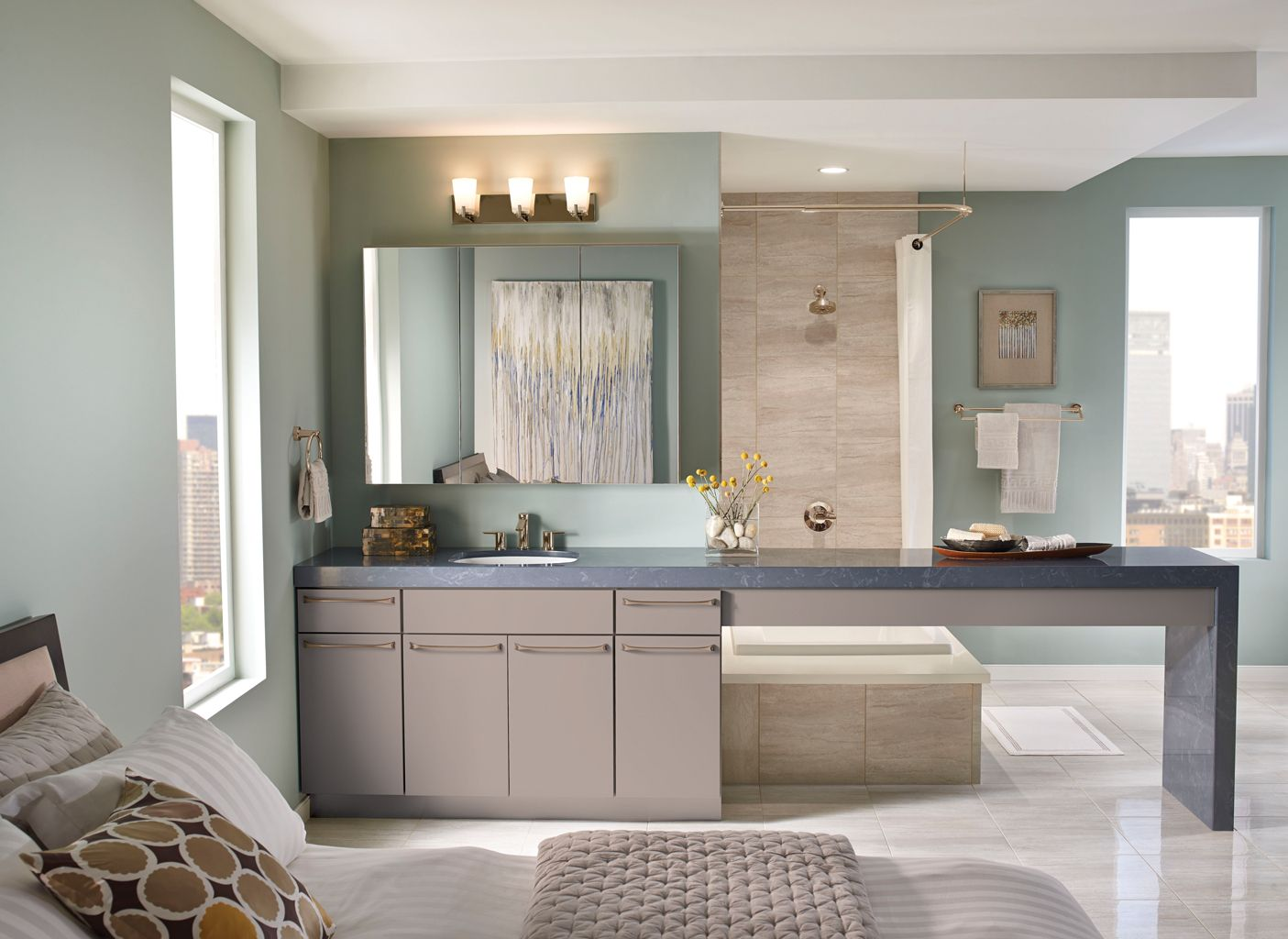 Kraftmaid grey kitchen cabinets - Kraftmaid Avery Maple Pebble Grey