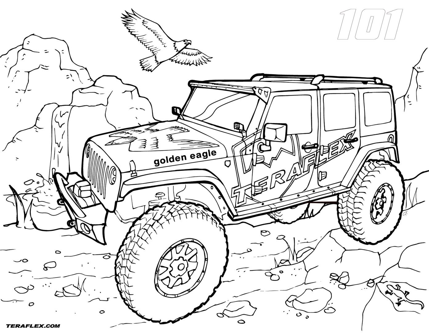 Four Wheeling Coloring Pages