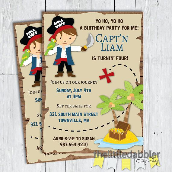 Printable Pirate Birthday Party Invitation Pirate Treasure Map – Treasure Hunt Party Invitations
