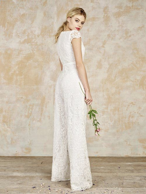House of Ollichon lace short sleeve wedding jumpsuit ...