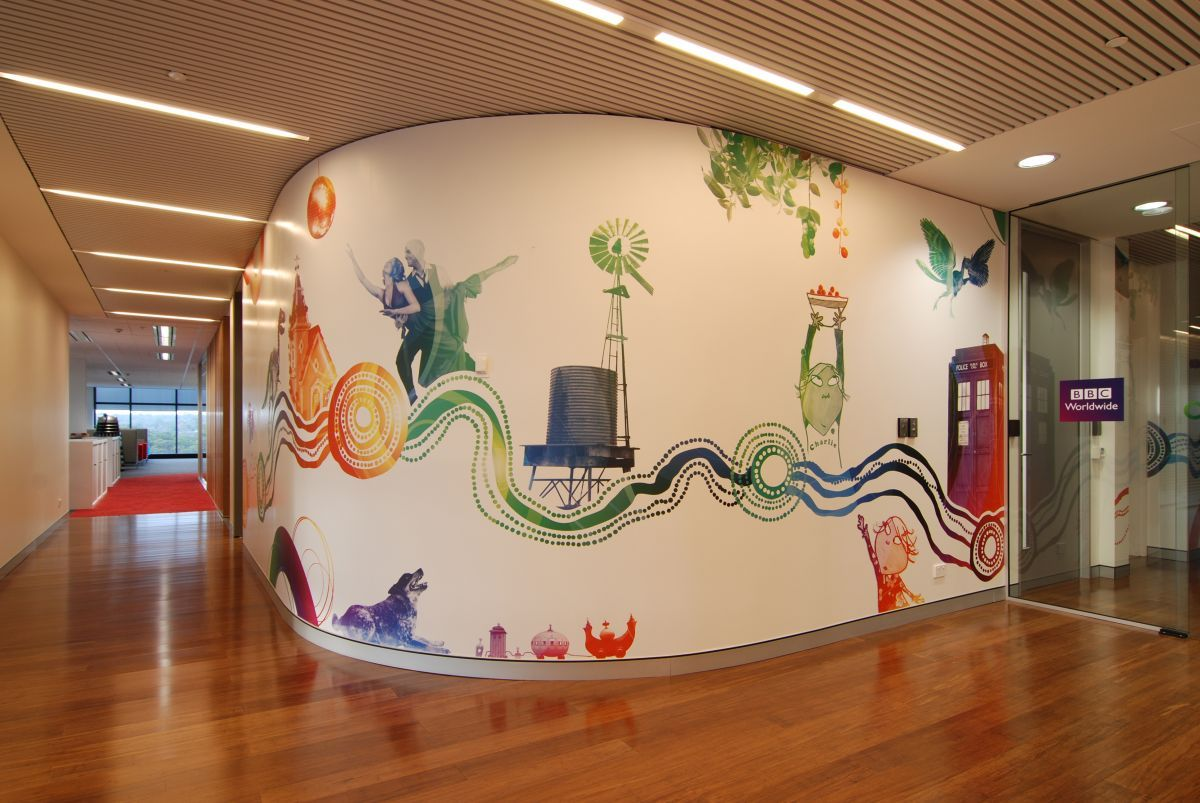 Cool office wall to floor decals google search office for Interior design and decorating schools in lagos