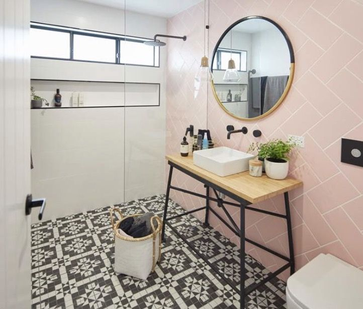 Pin By Olivia Walsh On Decorating Home Minimalist Bathroom Bathroom Red Pink Bathroom Tiles