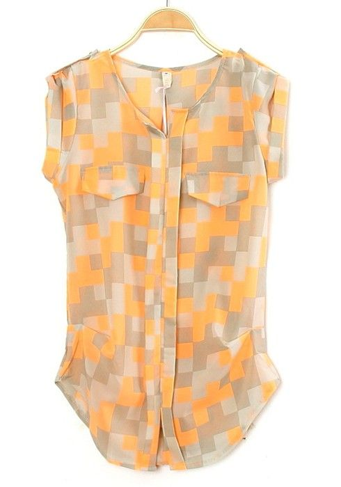 Orange Plaid Print Collarless Short Sleeve Chiffon Blouse | Shorts ...