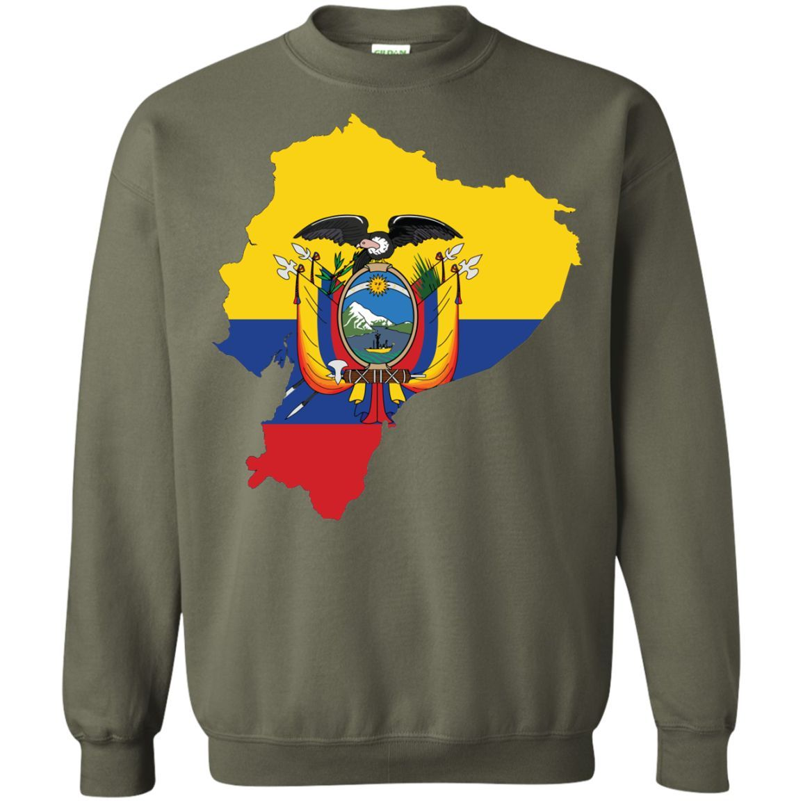 ecuador flag -01 Printed Crewneck Pullover Sweatshirt 8 oz