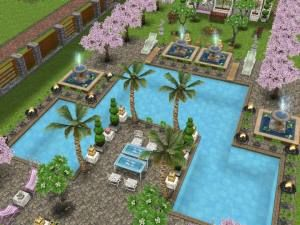 Sims freeplay i like the garden pool and fountains sim for Pool design sims 3