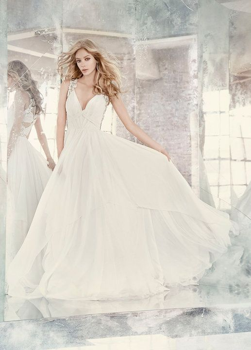 6790d05c3c98 Style 6605 Gwen / Ivory draped chiffon A-line bridal gown, deep V-neckline  with celestial beaded straps, draped keyhole back, tiered skirt of chiffon  and ...