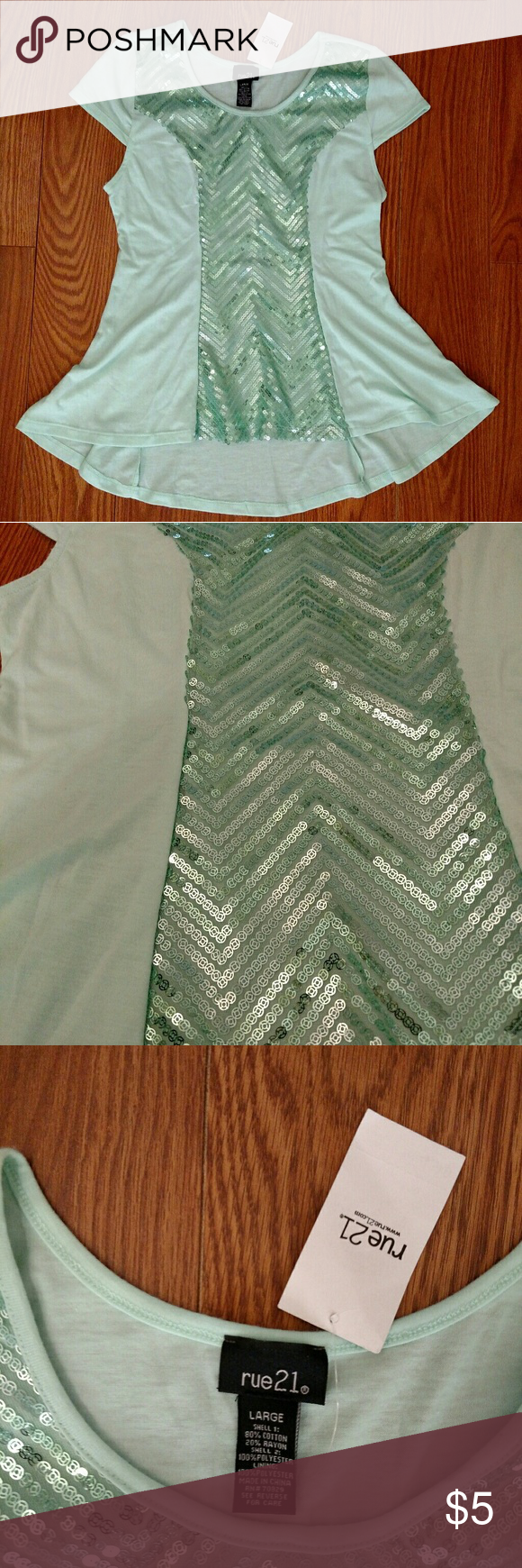 Rue 21 Mint Green Hi Low Top New mint green top. Back is lower and the front. Rue 21 Tops Tees - Short Sleeve