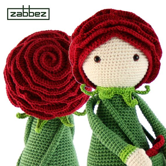Patrón de crochet de la Rosa Roxy PDF por Zabbez en Etsy | Muñecas ...