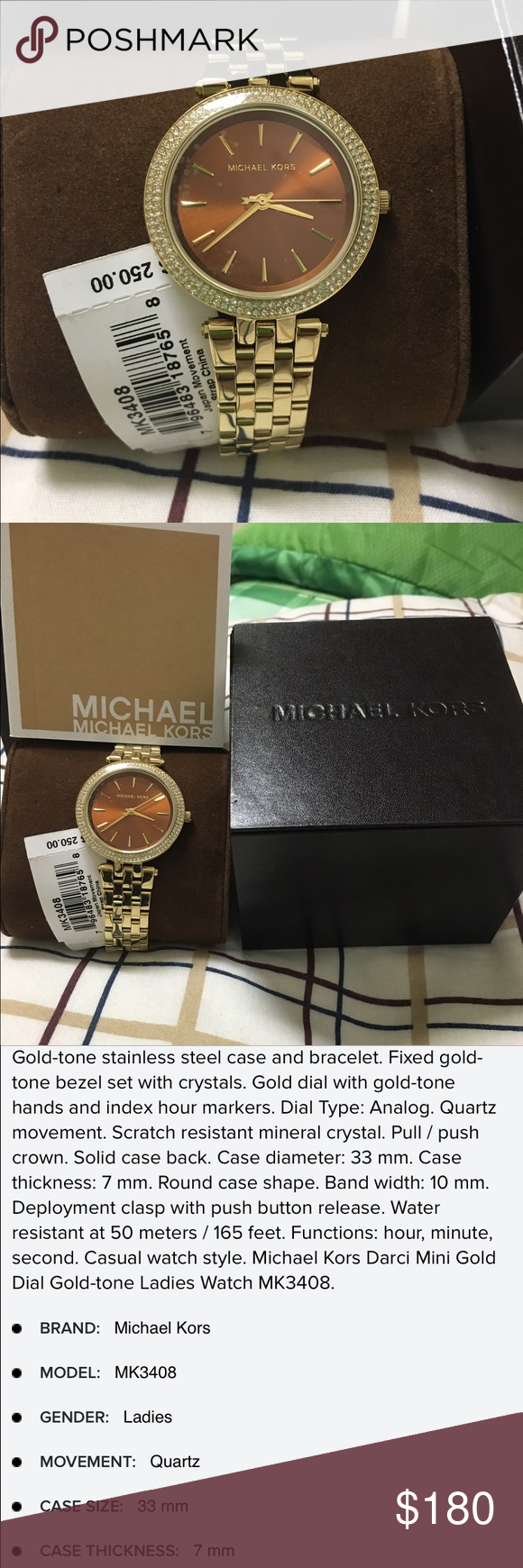 d3d47452a4a1 BRAND NEW❤ MICHAEL KORS new with tag Darci Mini Gold Dial Gold-tone Ladies  Watch Item No. MK3408 Michael Kors Accessories Watches