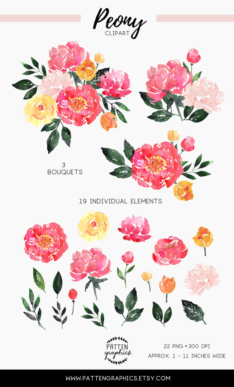 Watercolor peony flowers clipart, Watercolor peonies, Floral clipart, Watercolor flowers clip art, Bright Summer Pink Bouquet – PeonyBloom