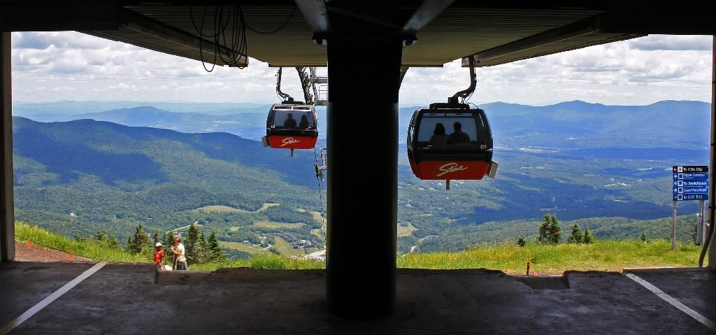 The gondola in summer at Stowe Mountain Resort.