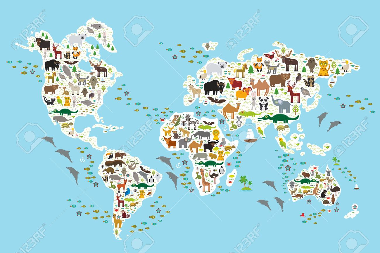 Cartoon animal world map for children and kids animals from cartoon animal world map for children and kids animals from royalty free cliparts gumiabroncs Choice Image