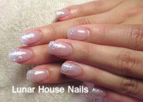 Acrylic Nails No Extension Lunar House Nails Clear Glitter Nails Pink Glitter Nails Glitter Nails Acrylic