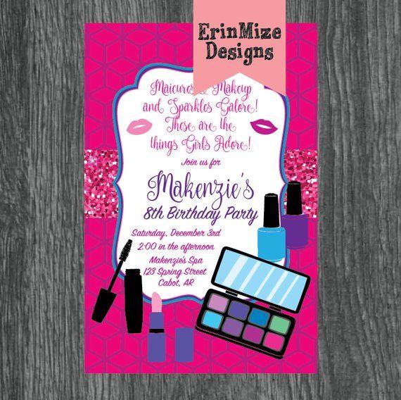 Makeup Party Invitations, nail polish, manicure, eyeshadow, lipstick, glitter, girls birthday party,