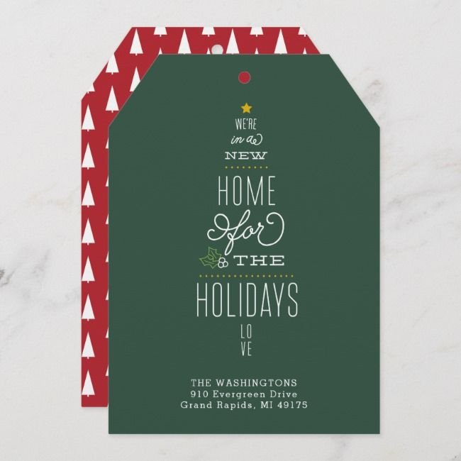 Christmas Card Moving Announcement New Address | Zazzle ...
