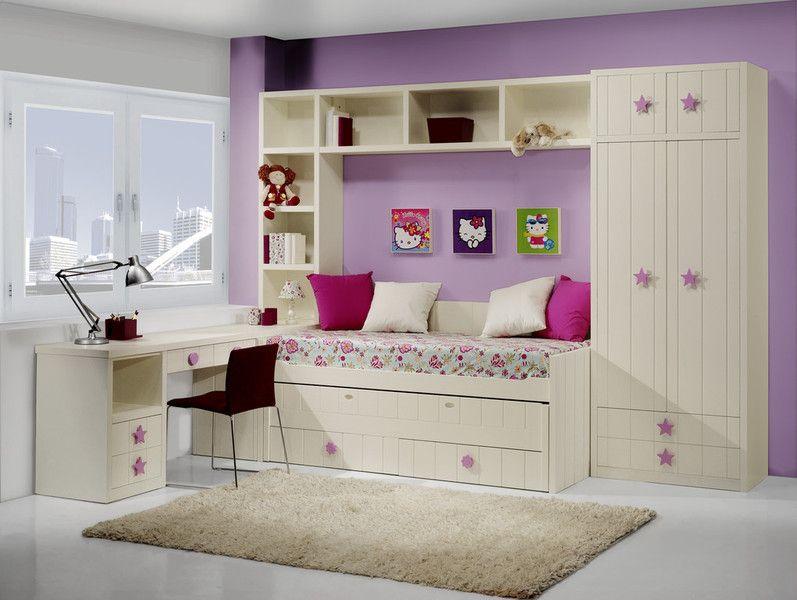 Dormitorio juvenil blanco roto laia dormitorios for Muebles infantiles juveniles