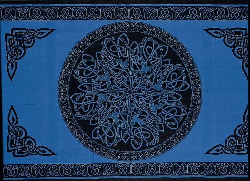 Celtic circle blue tapestry printed tapestries celtic