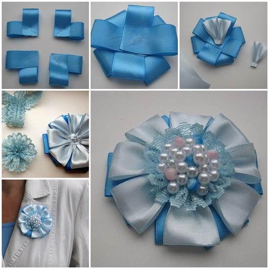 How to DIY Easy Satin Ribbon Flower Brooch | iCreativeIdeas.com Like Us on Facebook ==> https://www.facebook.com/icreativeideas