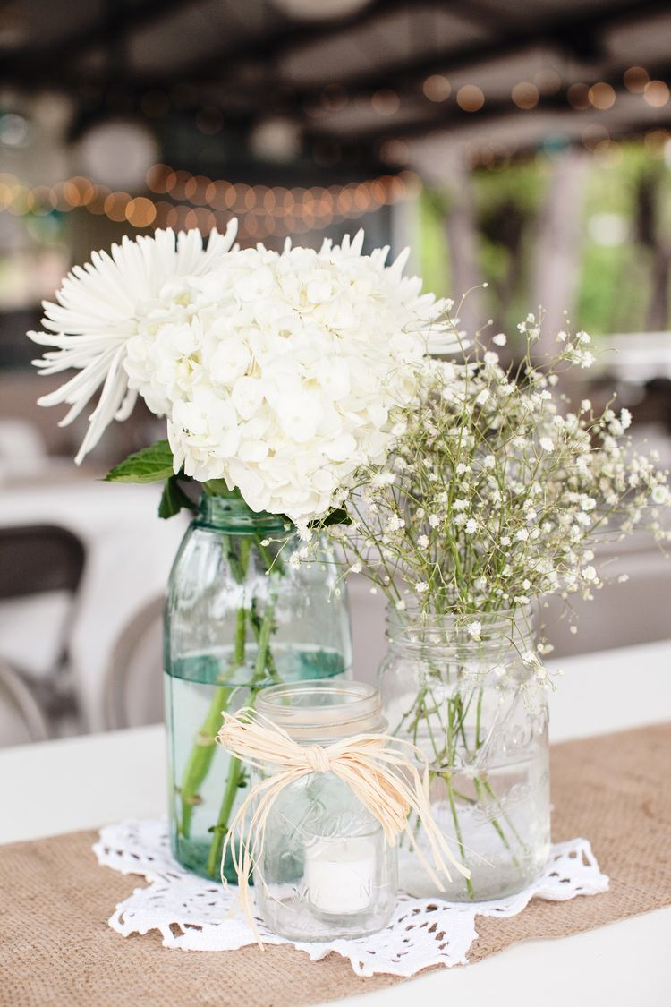 Rustic/vintage wedding centerpiece with mason jars, baby's breath, mums,  and hydrangeas with burlap table runner - cute simple table decor