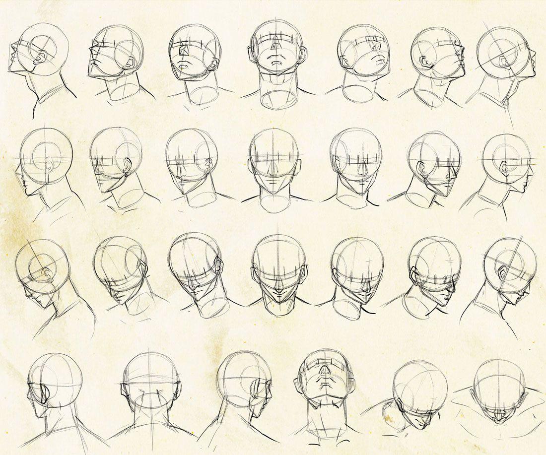 いろんな角度から描きやすい顔のアタリの描き方を考えてみました アニメポーズリファレンス アニメのポーズ 顔のスケッチ