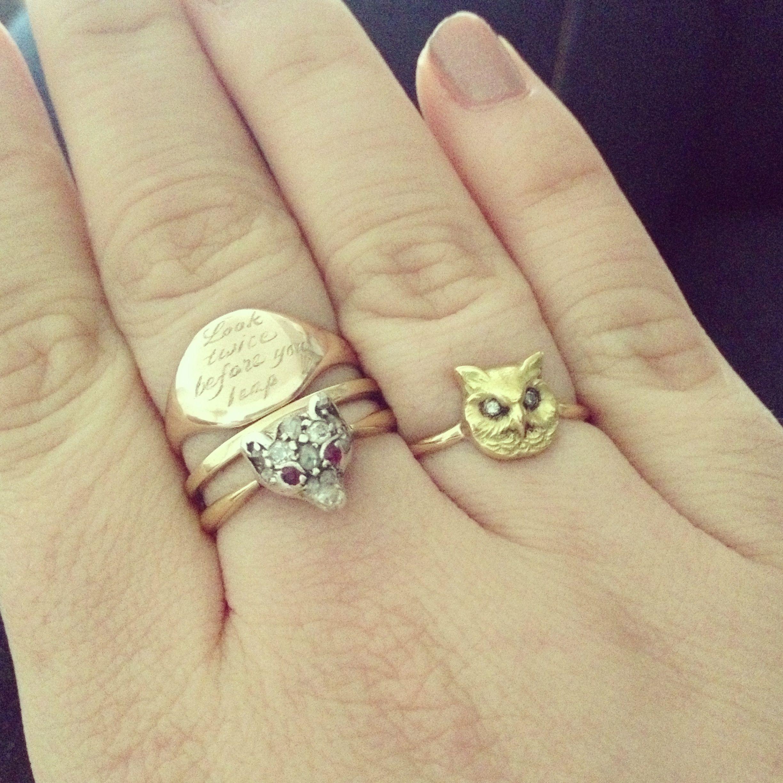 ce11733bc58ca Annina Vogel engraved signet ring, diamond fox ring   In My ...