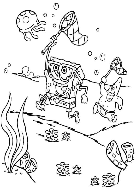 all spongebob characters coloring pages | Spongebob And Patrick Coloring Page | Spongebob Coloring ...
