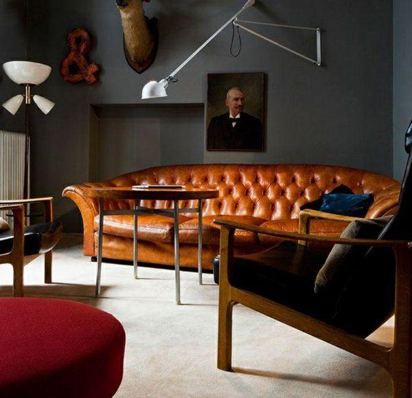 Graue Wandfarbe Einrichtung Wohnzimmer Farbgestaltung Ideen Dunkelgrau