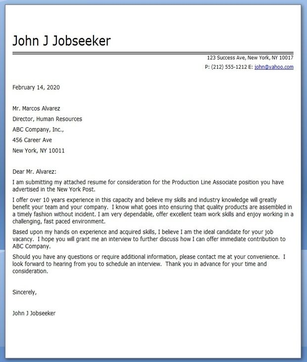 Cover Letter Production Line Worker | Resume Downloads ...