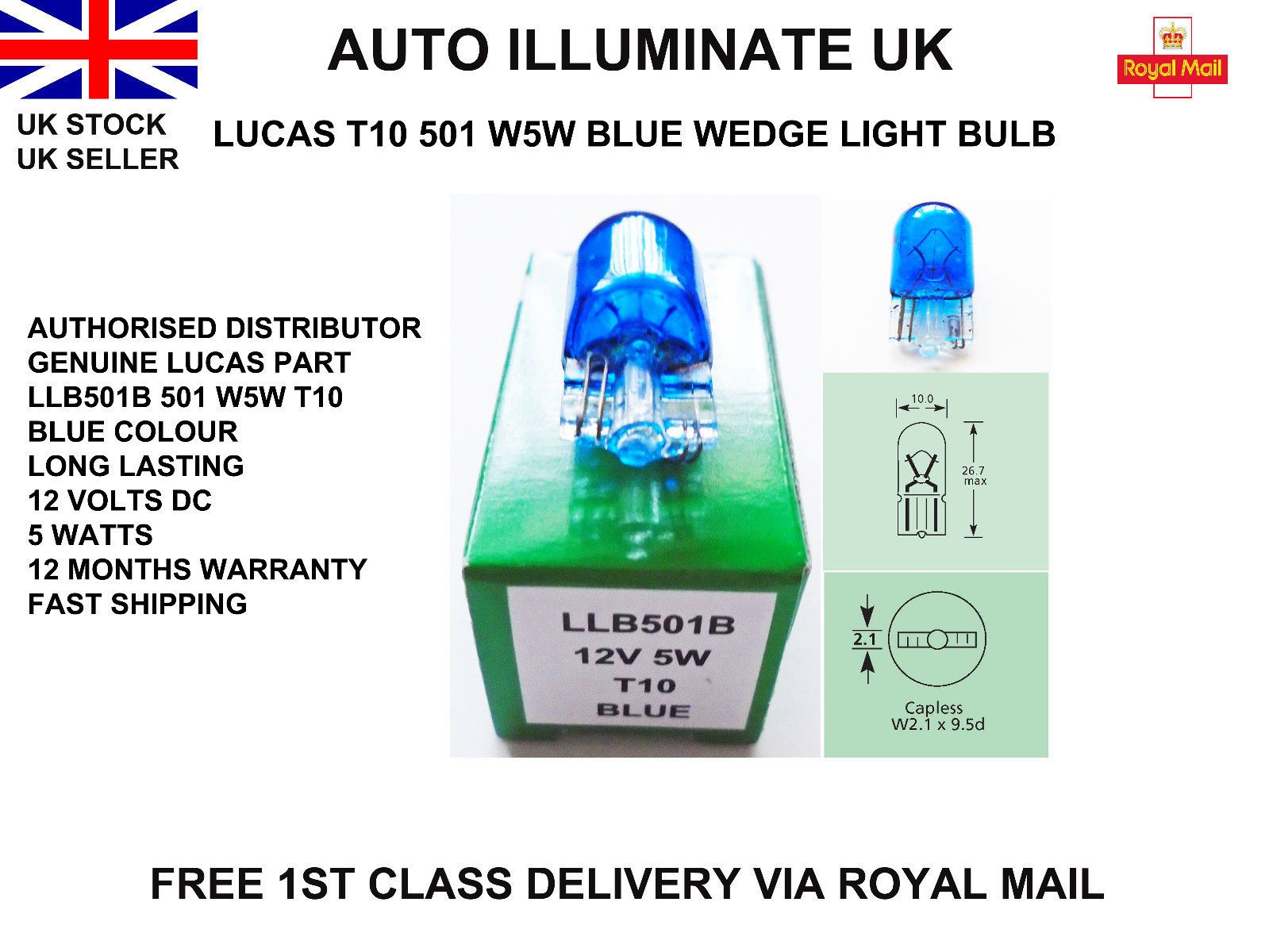 Lucas Llb501b W5w T10 Blue Capless Car Light Bulb Lamp Interior Dash 501 12v 5w Lighting Suppliers Royal Mail Uk Bulb