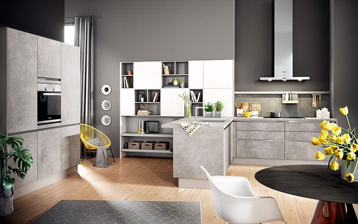 COMET Spachtelbeton Perlgrau #häcker #häckerküchen #classic #küchenplanung # Küche #holz #