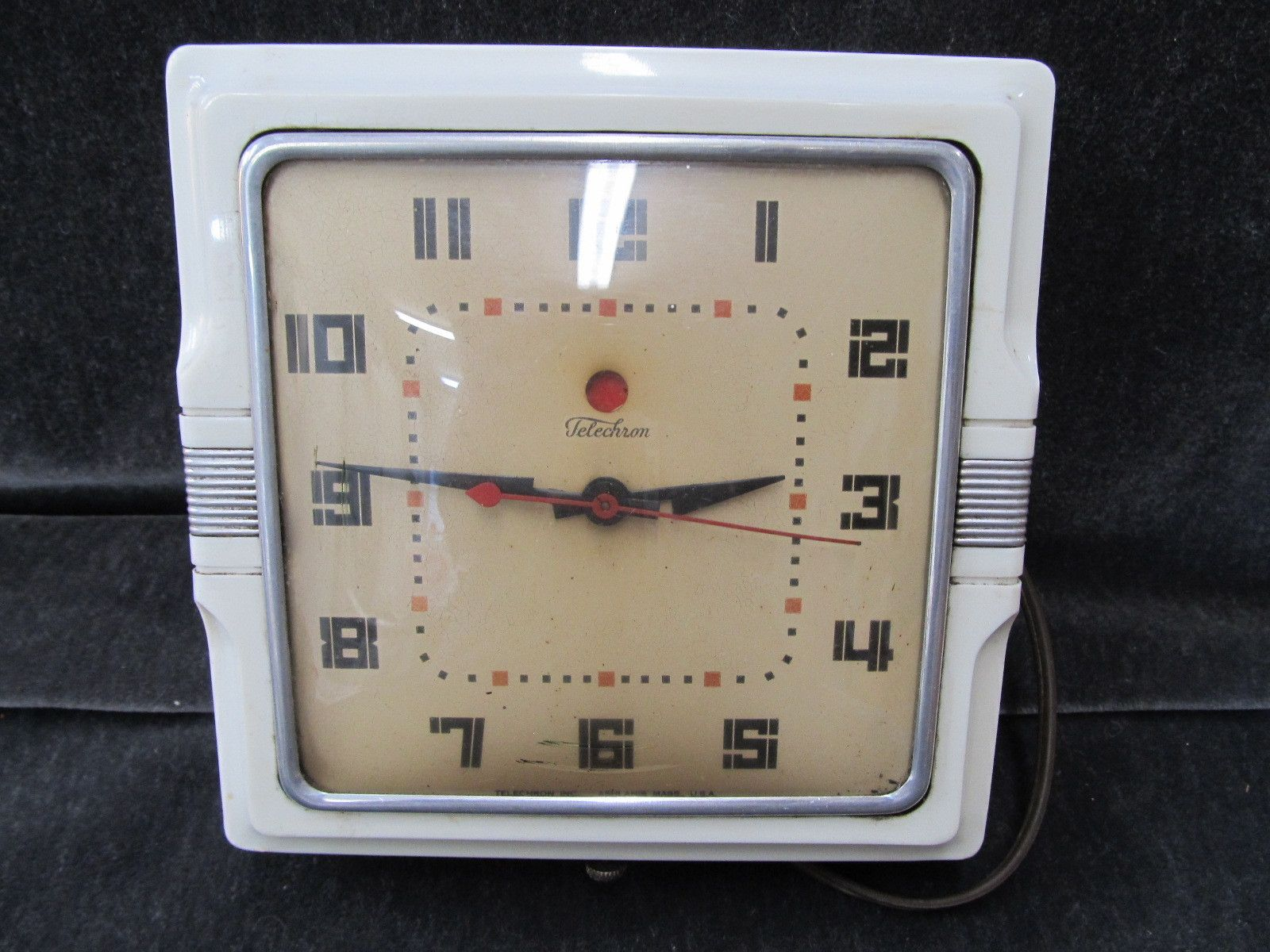 Vintage Electric Kitchen Wall Clock Telechrom Art Deco