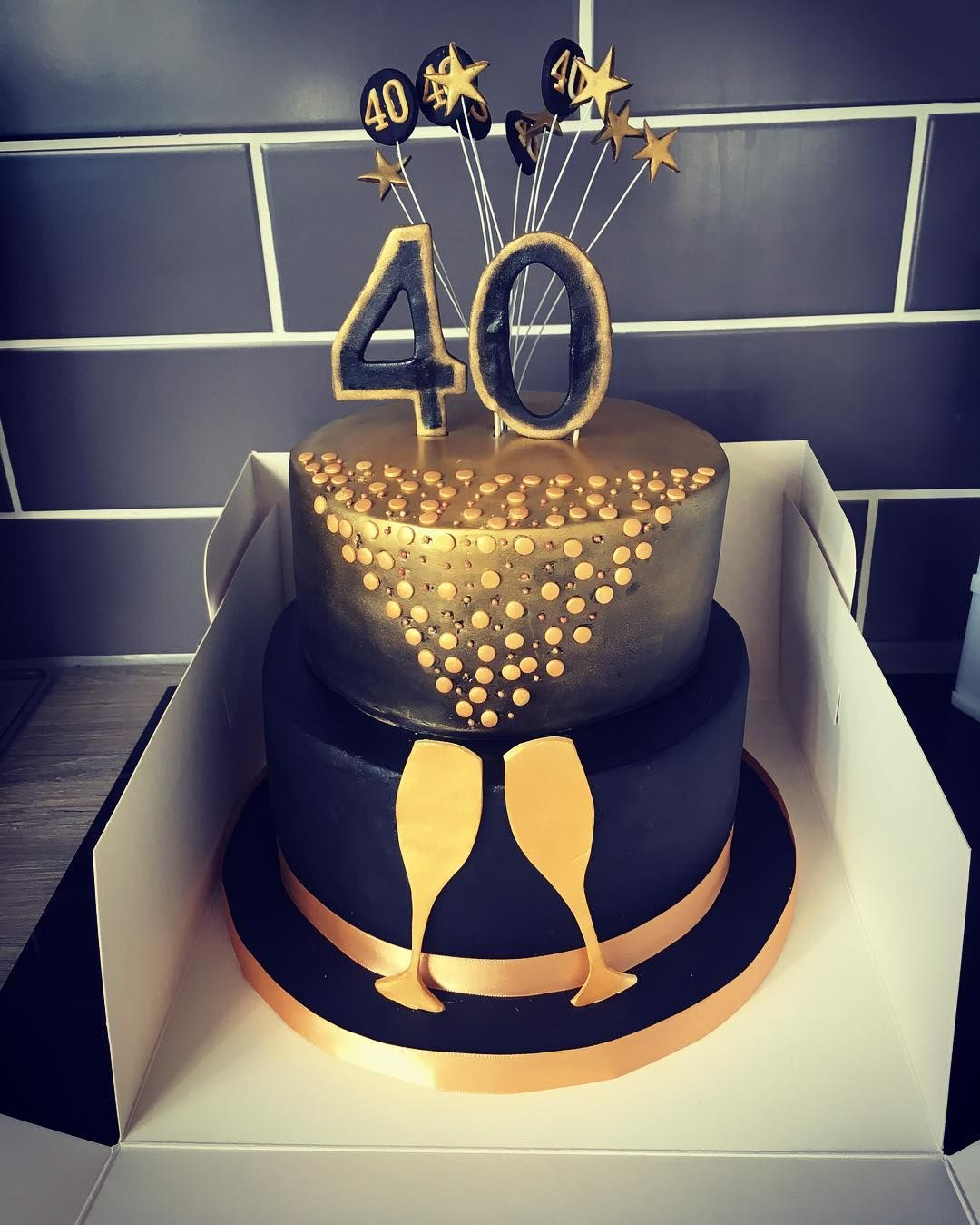Black And Gold 40th Birthday Cake I Just Delivered To The Venue